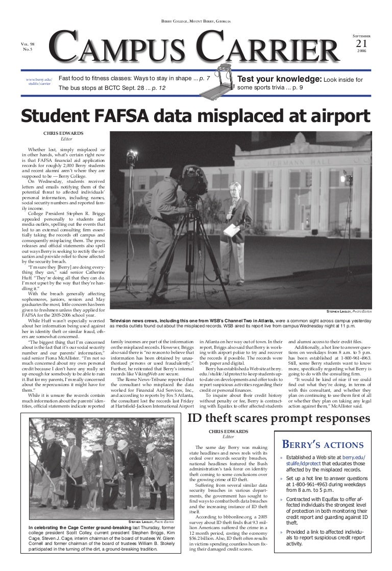 College Newspaper Writing And Layout Sample Student Data Missing