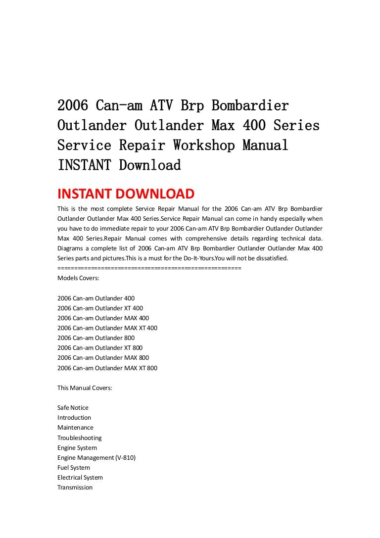 2006 Can Am Atv Brp Bombardier Outlander Max 400 Series Ser Wiring Diagrams