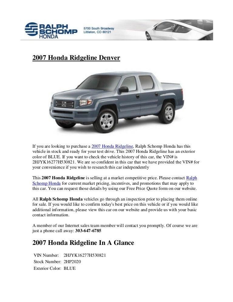 Ralph Schomp Honda >> 2007 Honda Ridgeline Denver