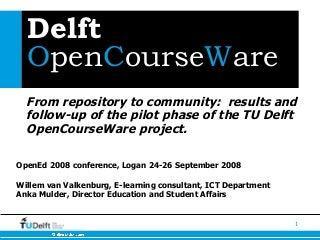 TU Delft OCW presentation at OpenEd 2008