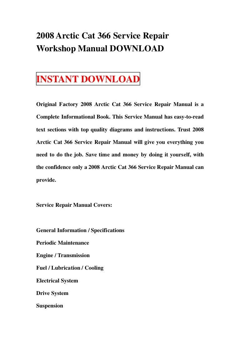 2008 arctic cat 366 service repair workshop manual download