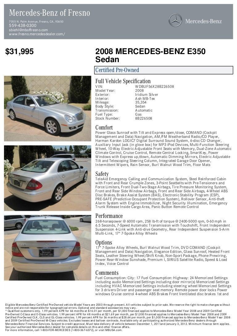 2008 Mercedes Benz E Class E350 For Sale At 17729730 Pdf