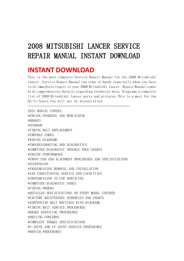 2008 Mitsubishi Lancer Service Repair Manual Instant Download