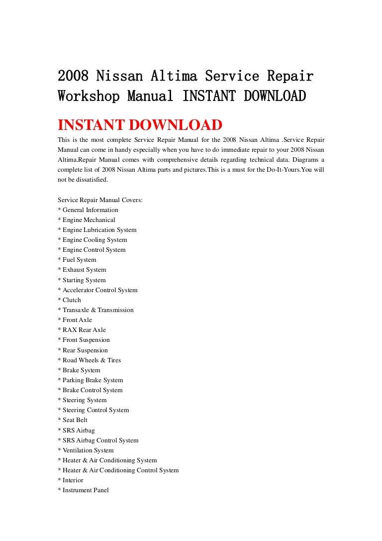 Nissan Altima: Owner's ManualService Manual order information