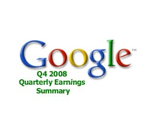 Google 2008 Q4 earnings