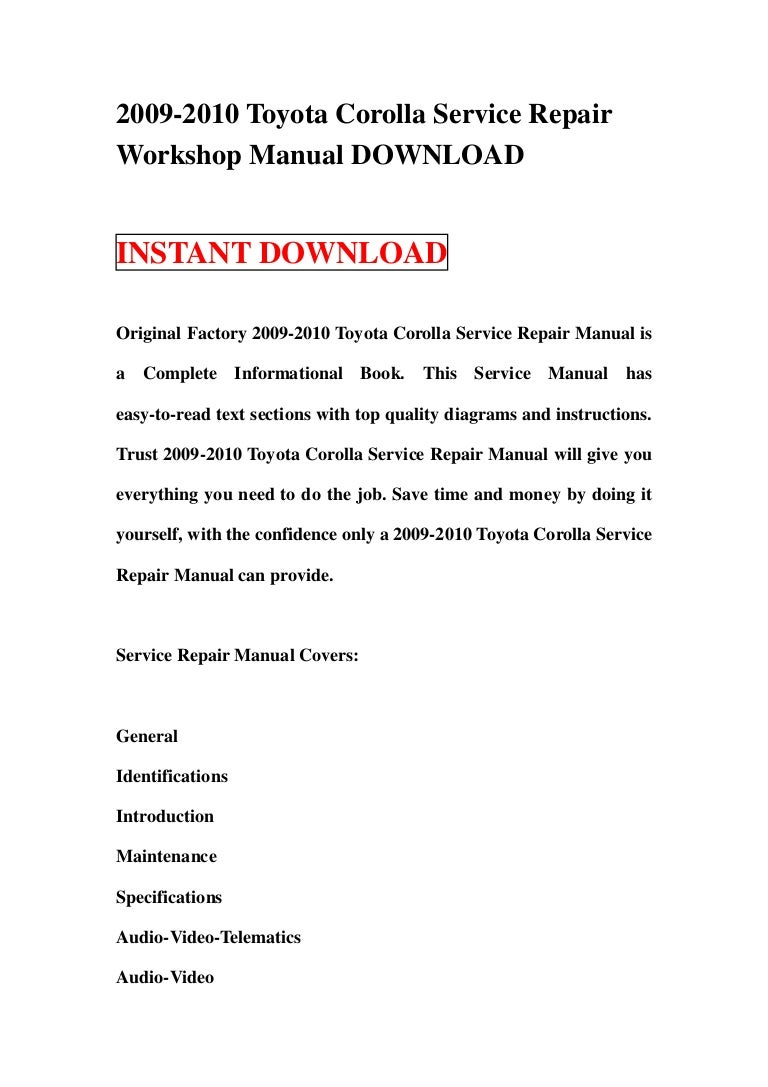 Toyota Corolla Owners Manual: Operating instructions