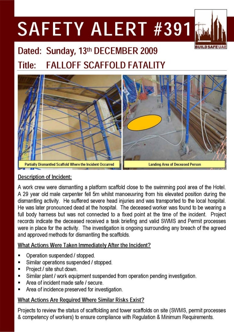 bsu safety alert fall off scaffold fatality