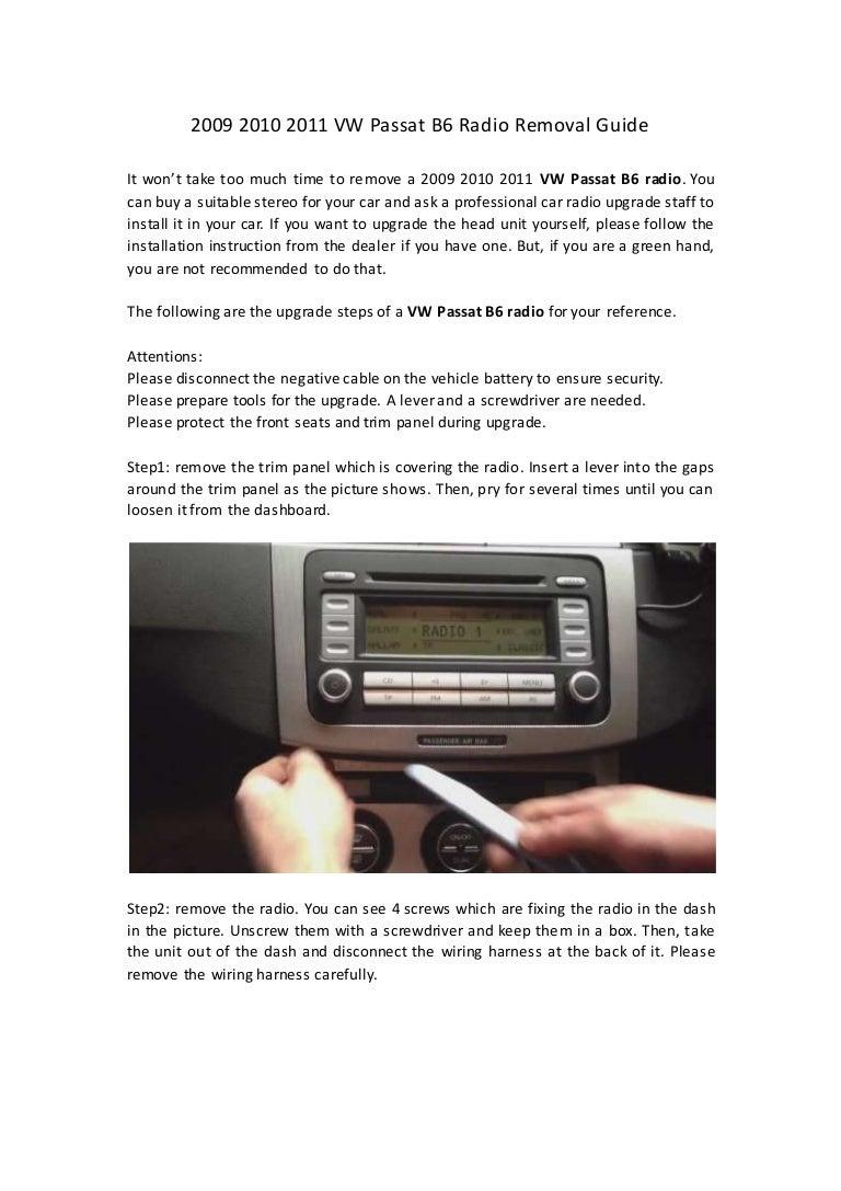 2009 2010 2011 Vw Passat B6 Radio Removal Guide Wiring Harness Phaeton