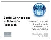 2009 Minne Web Con Social Connections In Scientific Research