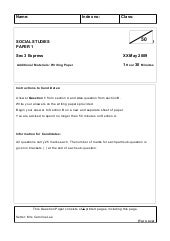 2009 My Social Studies 3 Exp Question Paper For Nhhs