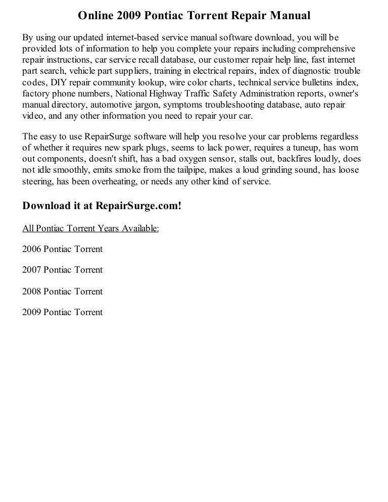 2009 pontiac torrent repair manual online sciox Image collections
