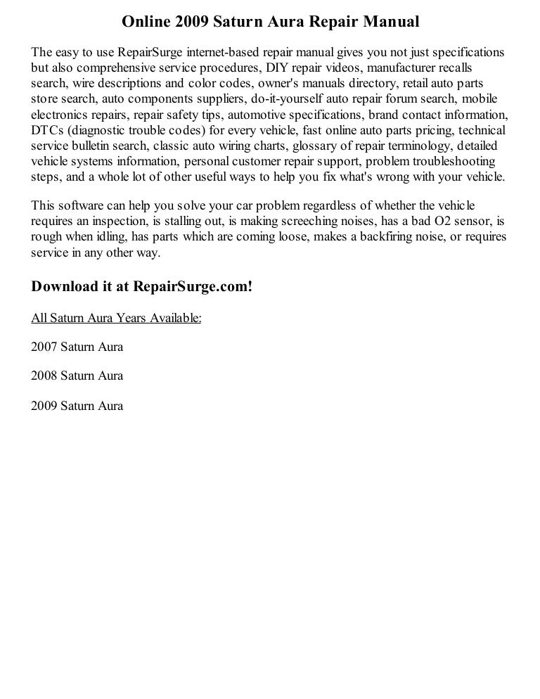 2009 saturn aura repair manual online rh slideshare net 2007 saturn aura repair manual 2007 saturn aura service repair manual