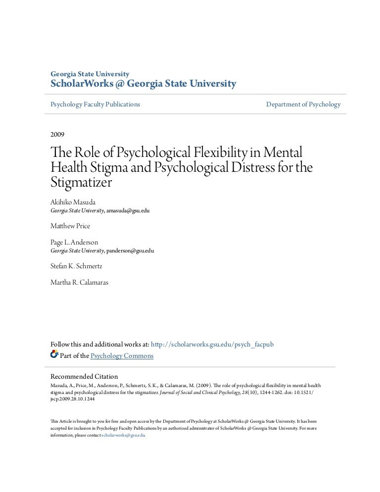2009 The Role Of Psychological Flexibility In Mental Health Stigma An