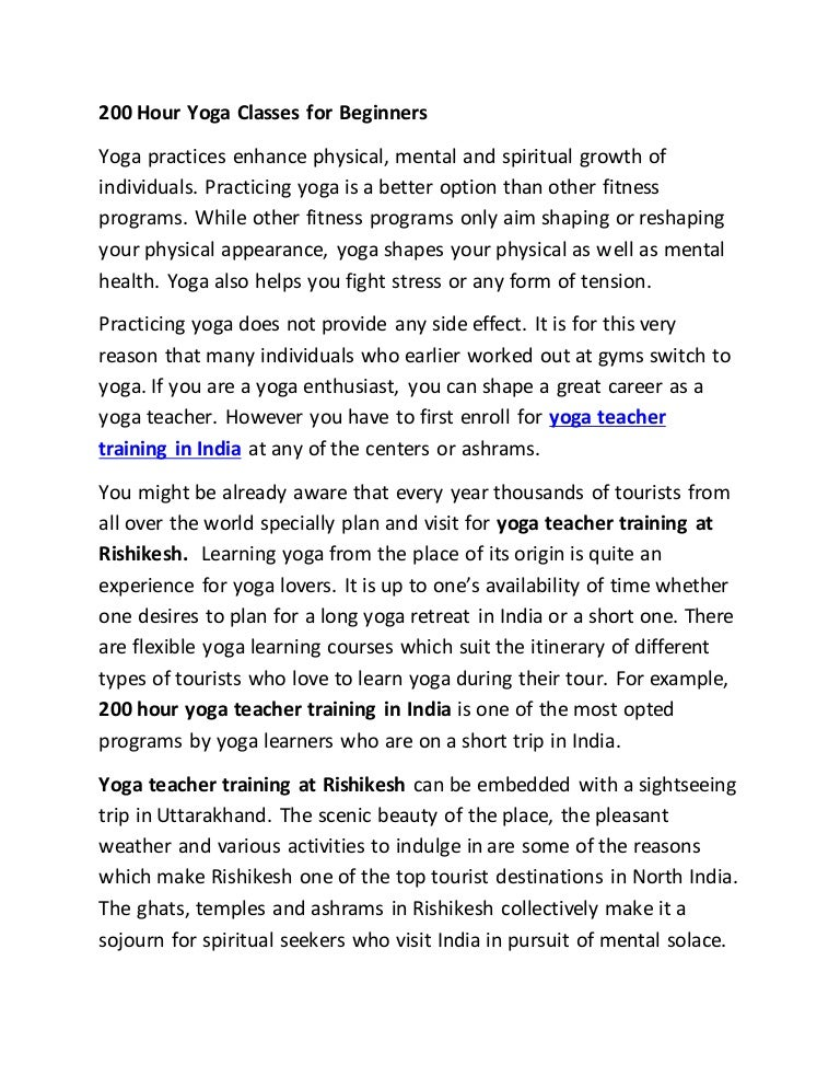 200 Hour Yoga Classes For Beginners