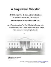 A Progressive Checklist: 200 Things the Biden Administration Should Do in Its First 2 Years
