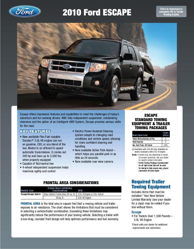 2010 ford escapre towing guide specifications capabilities Ford Trailer Plug Wiring Diagram