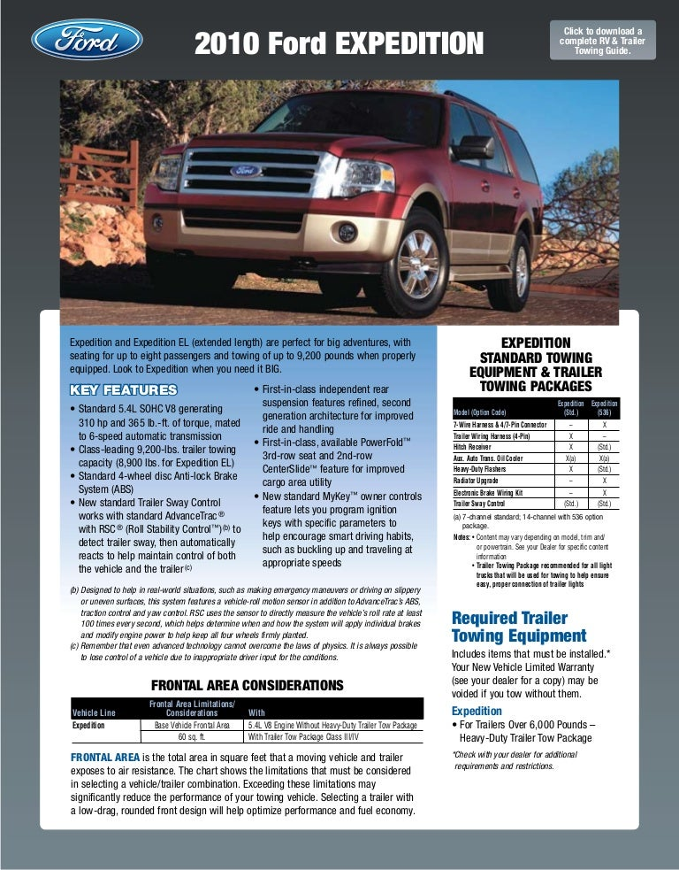 2010 Ford Expedition Towing Guide Specifications Capabilities