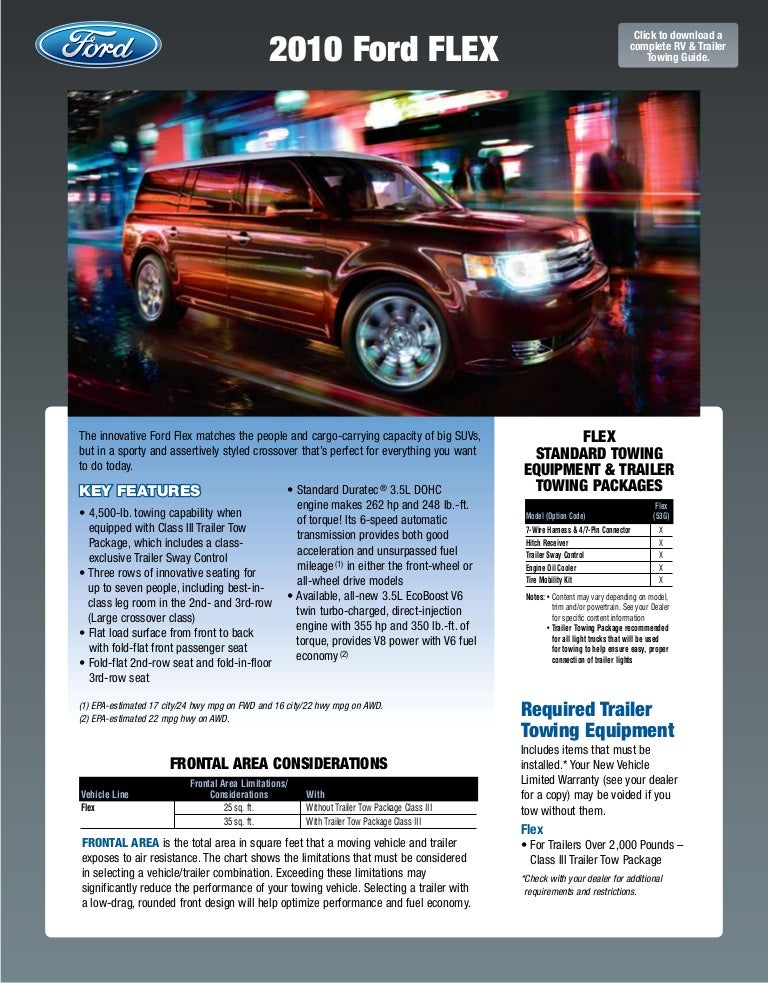 2010 Ford Flex Towing Guide Specifications Capabilities