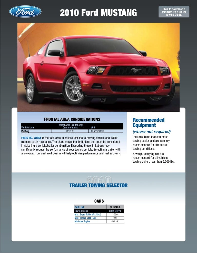 2010 Ford Mustang Towing Guide Specifications Capabilities