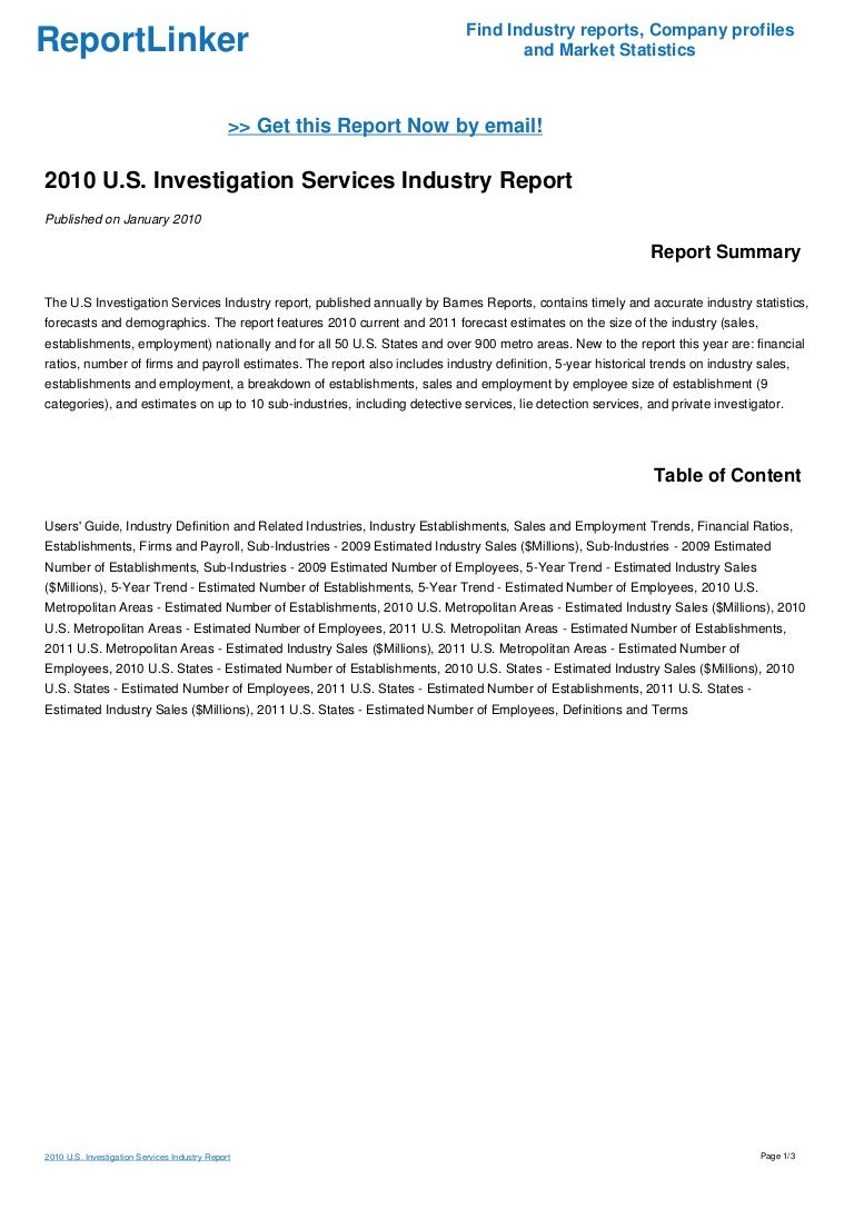 2010 U.S. Investigation Services Industry Report