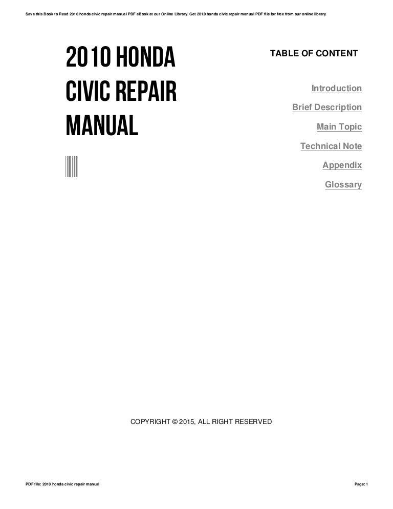 2010 honda civic repair manual rh slideshare net Honda Civic User Manual Honda Civic Manual Water PU