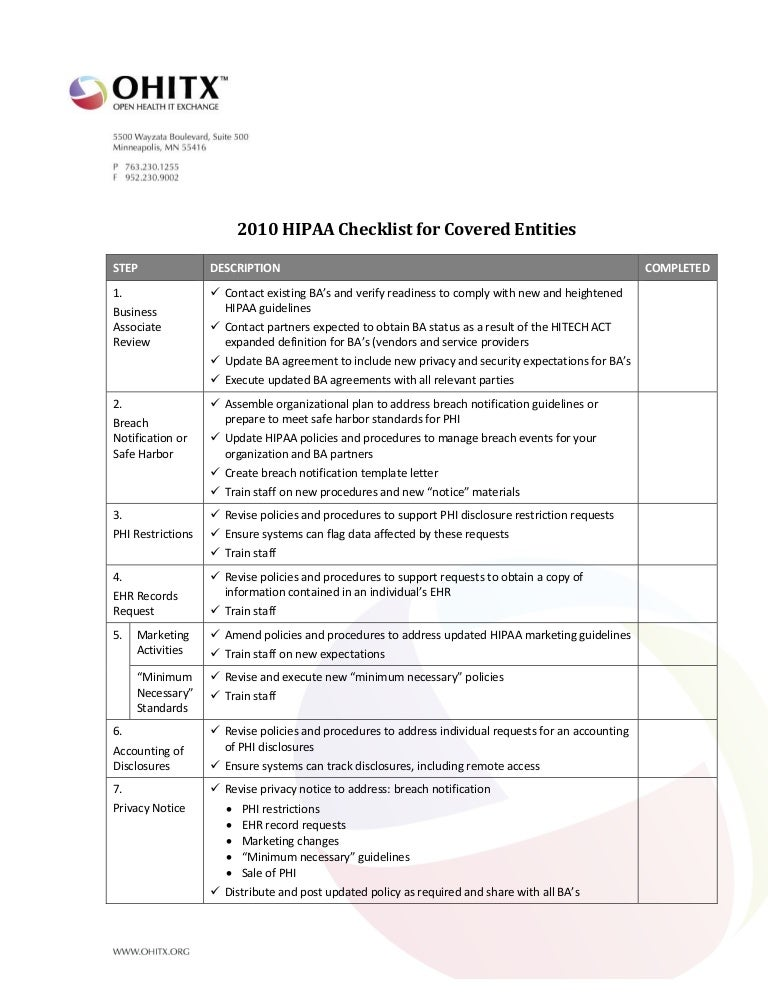 2010 New Guidelines Hipaa Checklist V1