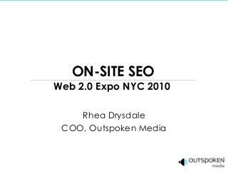 On-Site SEO Web 2.0 Expo 2010