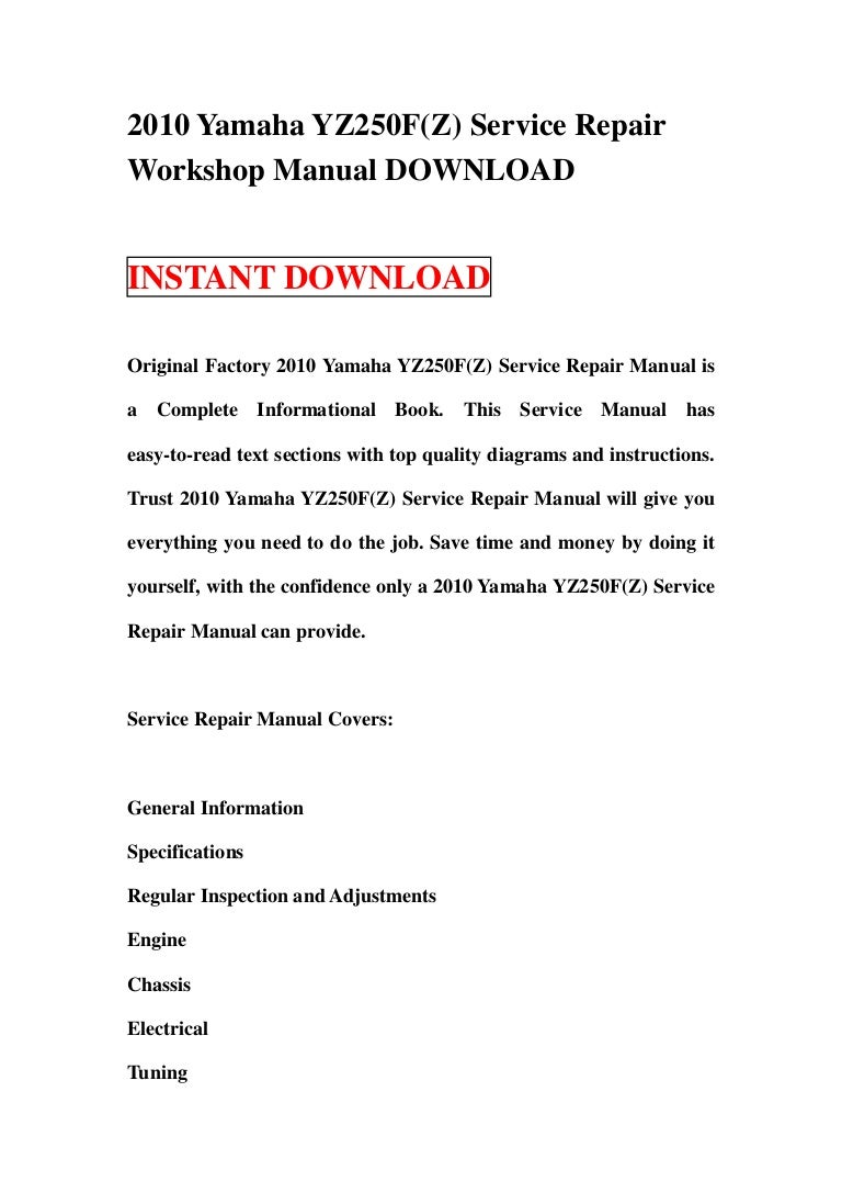 yamaha yz250f 2006 2009 service manual Array - 2010 yamaha yz250 f z service  repair workshop manual download rh slideshare ...