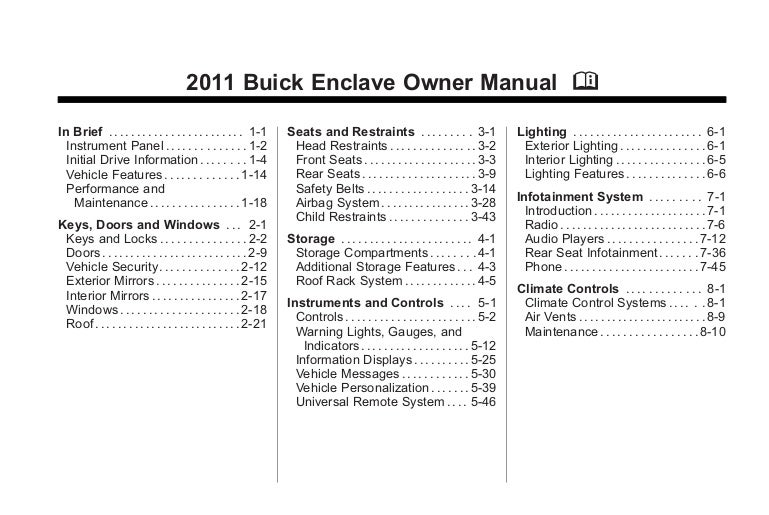 2011 buick enclave toledo owners manual rh slideshare net 2012 buick enclave owners manual 2011 buick regal owner's manual