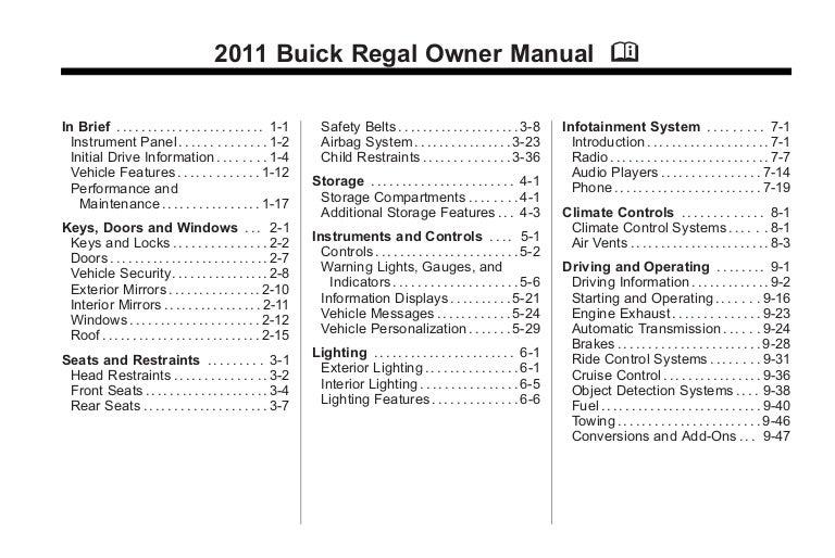 2011 buick regal toledo owners manual rh slideshare net owners manual for buick lacrosse owners manual for buick verano 2014