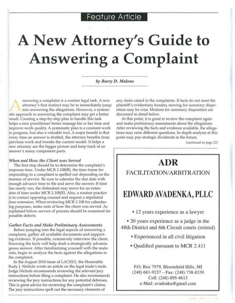 A New Attorney's Guide To Answering A Complaint