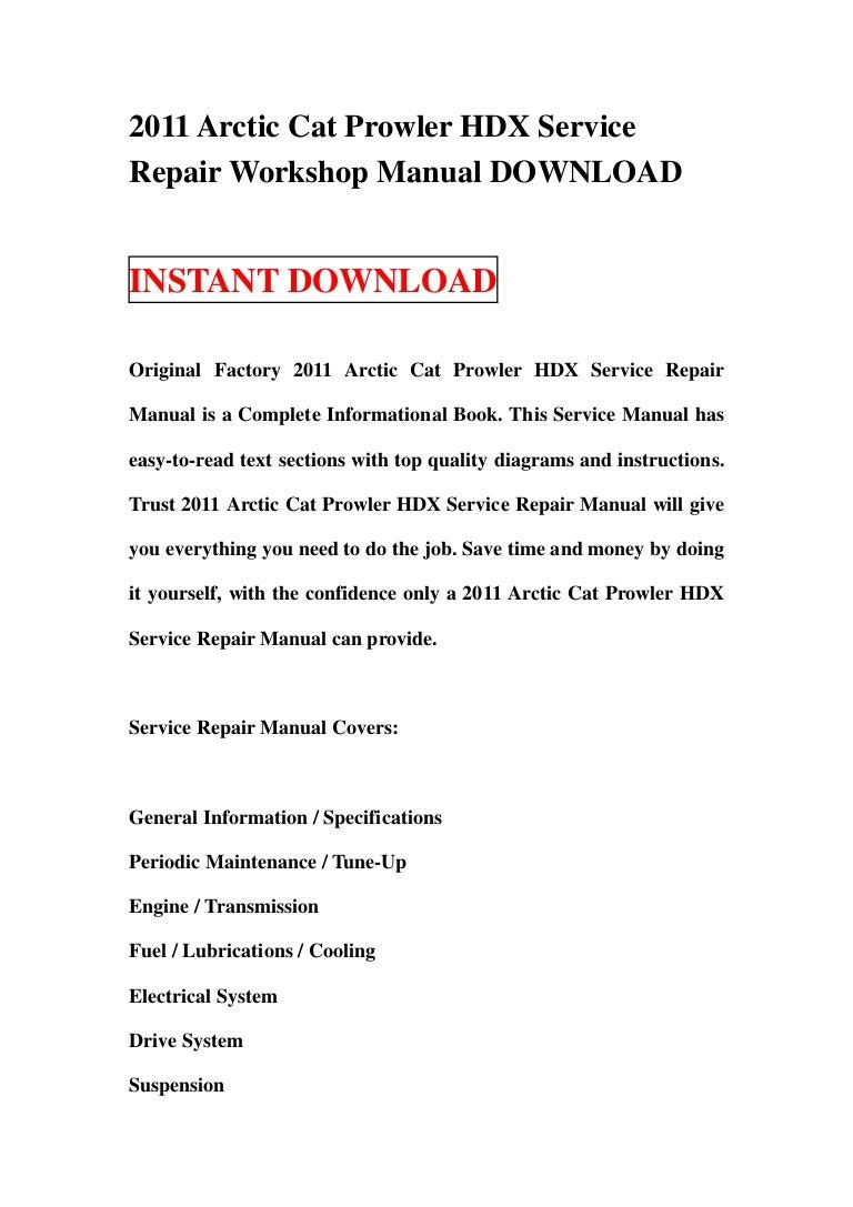 2011 Arctic Cat Prowler Hdx Service Repair Workshop Manual Download Polaris 600 Rush Wiring Diagram