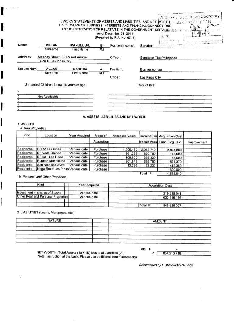 2011 statement of assets liabilities and net worth of senator manuel