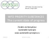 WFD priority substances: the state of progress