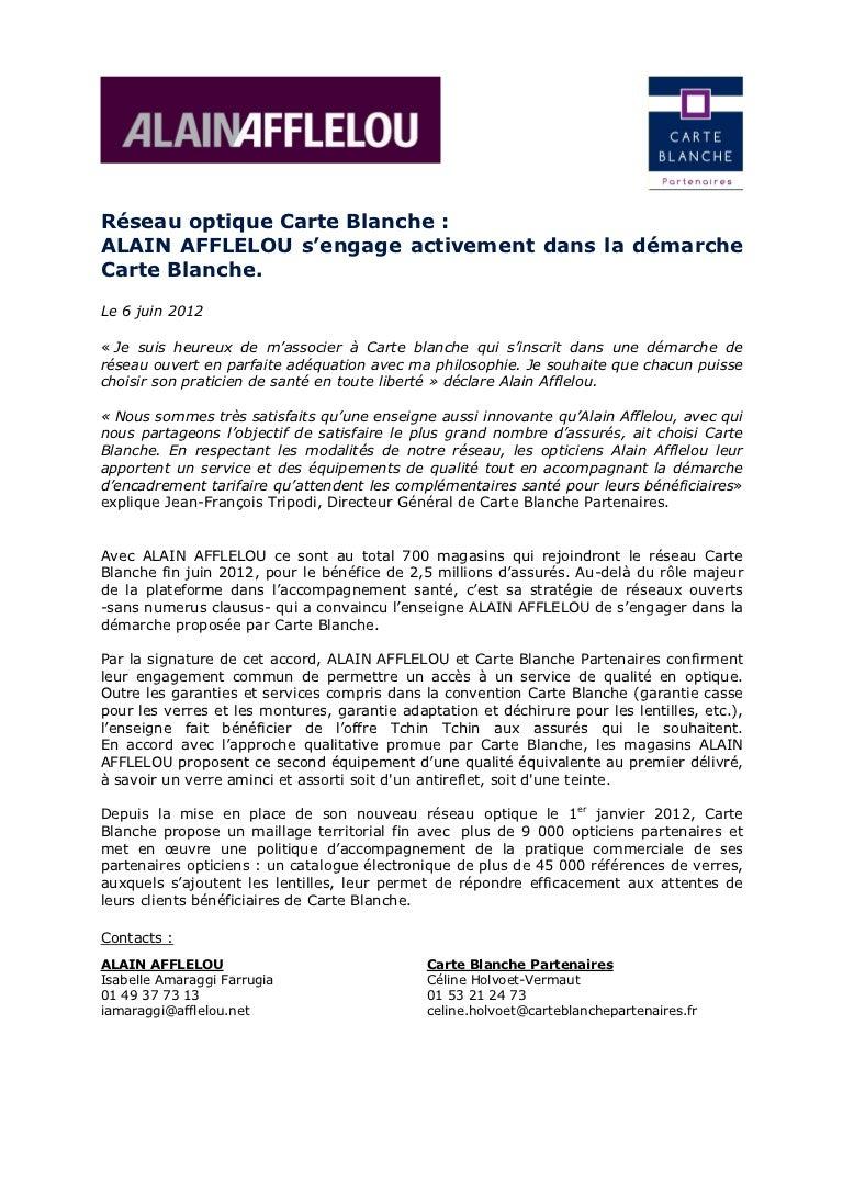 Afflelou rejoint le reseau Carte Blanche 1bf81fba3c87