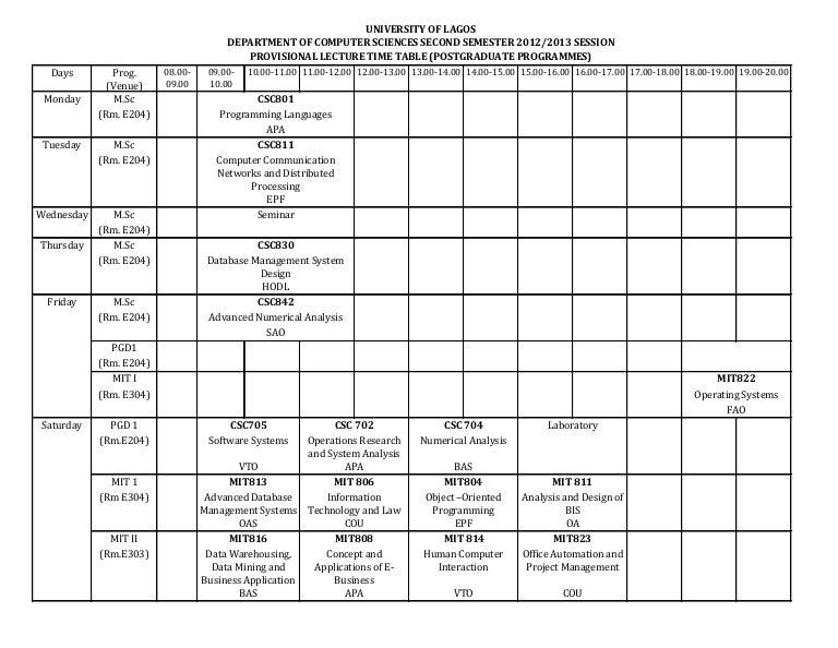 2012 2013 session 2nd semester lecture time table