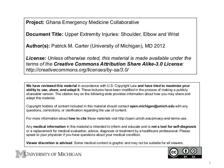 GEMC: Upper Extremity Injuries: Shoulder, Elbow and Wrist: Resident T…