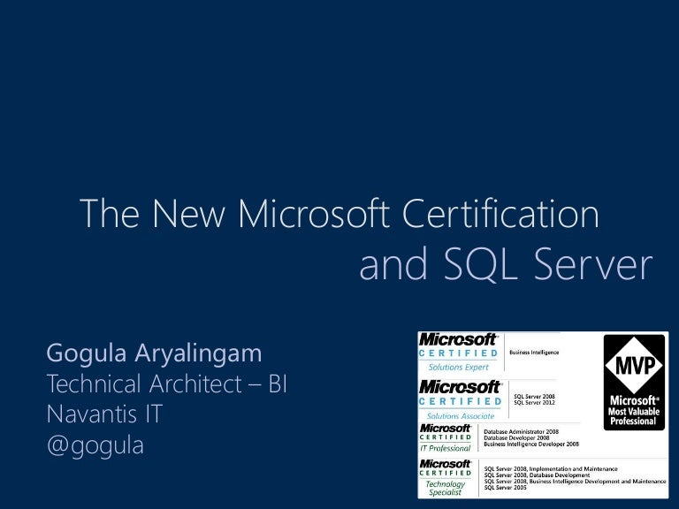 The New Microsoft Certification And Sql Server