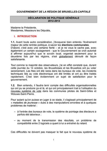 La déclaration de politique générale à Bruxelles