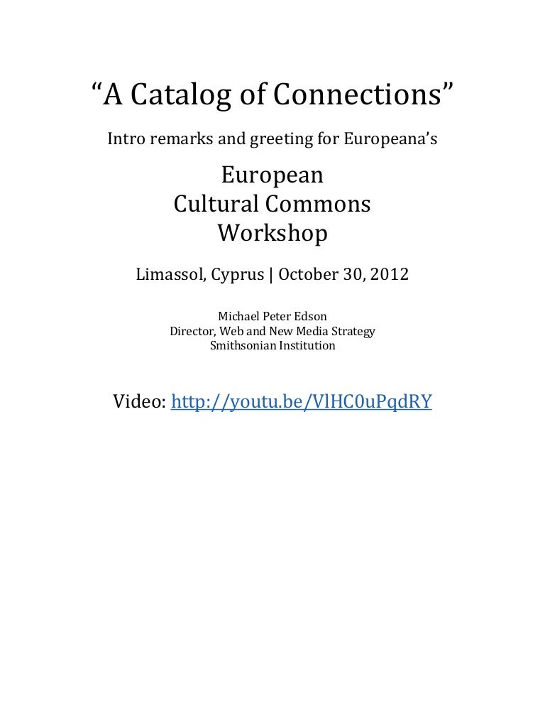 european cultural commons workshop introductory remarks transcript