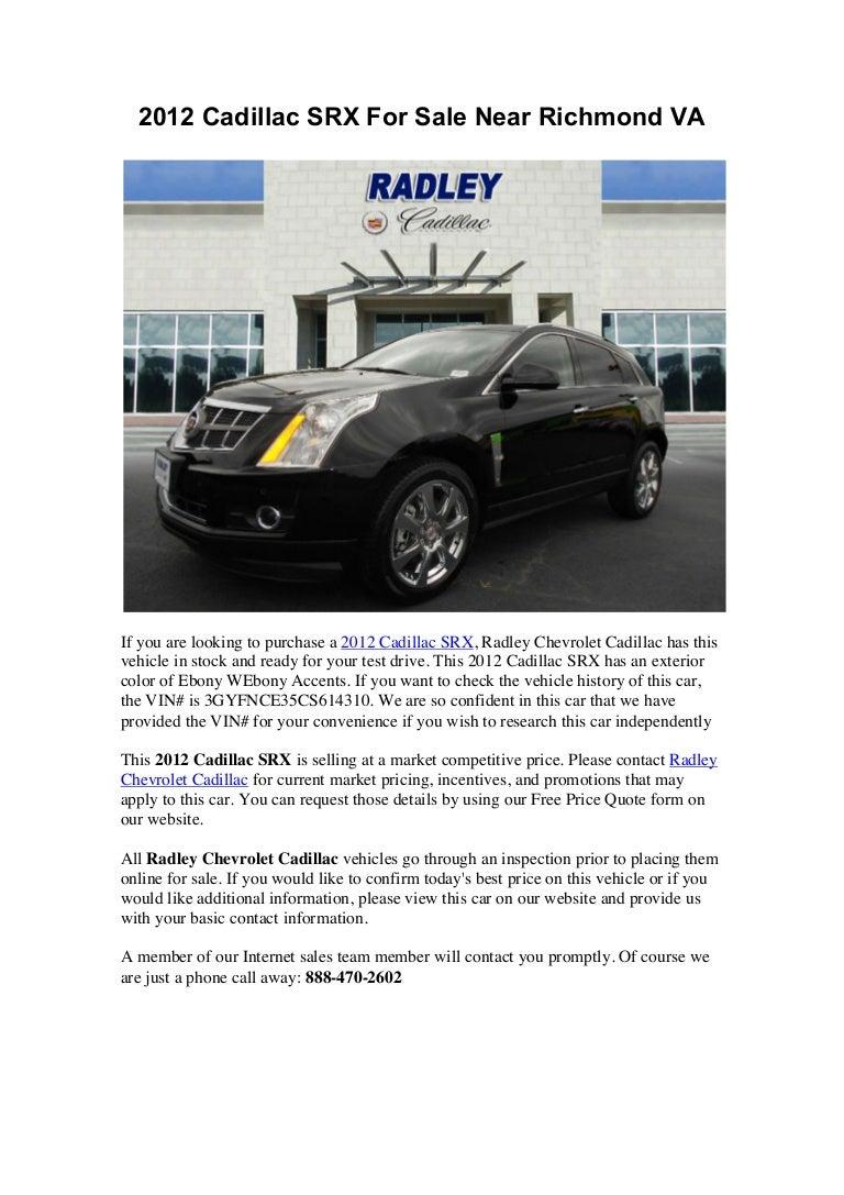2012 Cadillac SRX For Sale Near Richmond VA