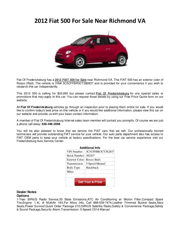 2012 Fiat 500 For Sale Near Richmond VA
