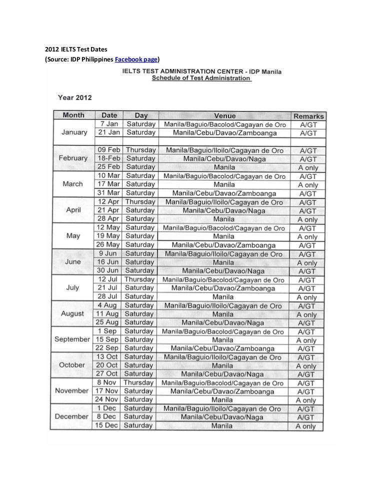 2012 IELTS Test Dates - IDP