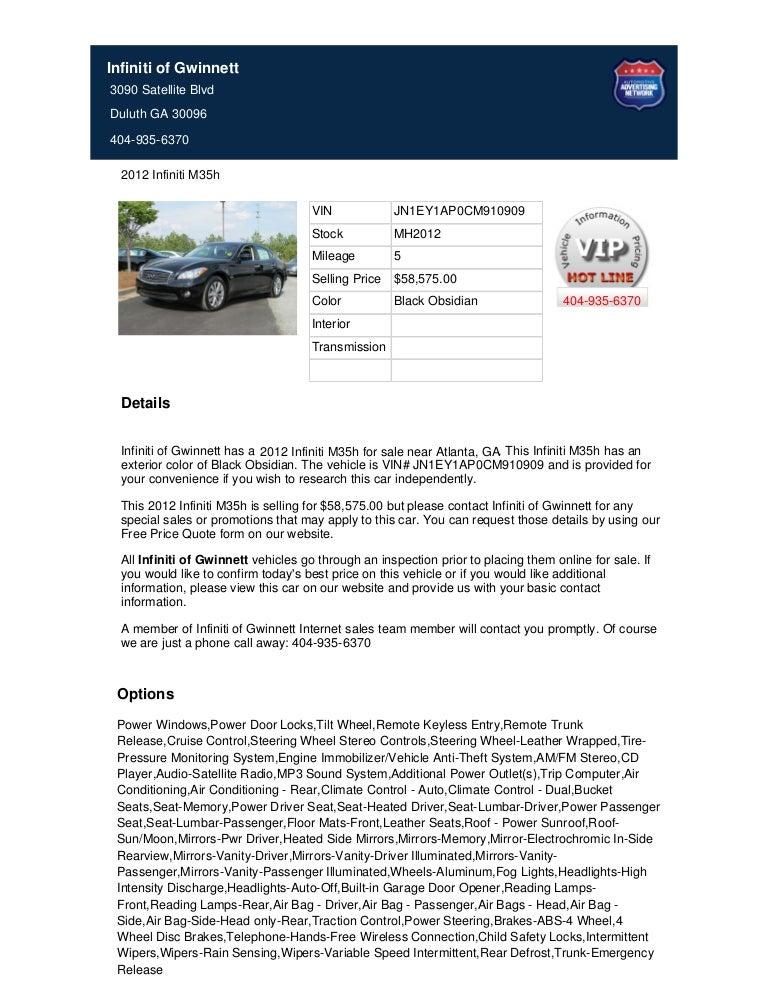 2012 infiniti m35 h for sale near atlanta ga slideshare