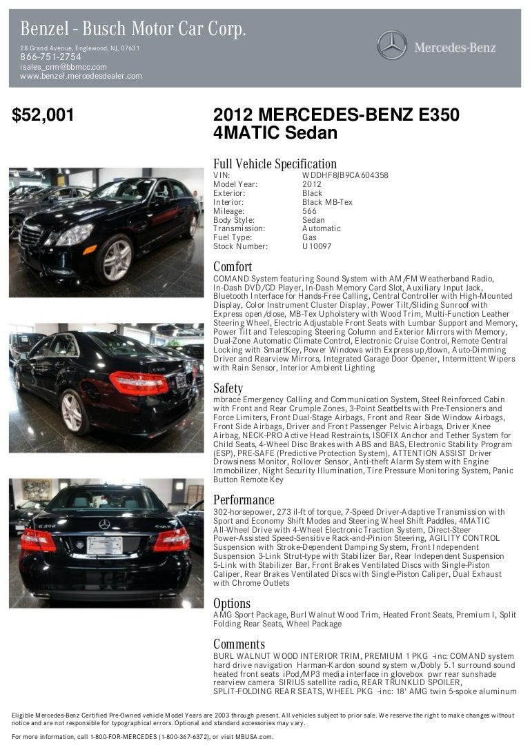 2012 Mercedes Benz E Class E350 For Sale At 18232517 Pdf