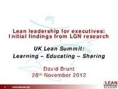 Lean Leadership for Executives: Initial findings from LGN Research
