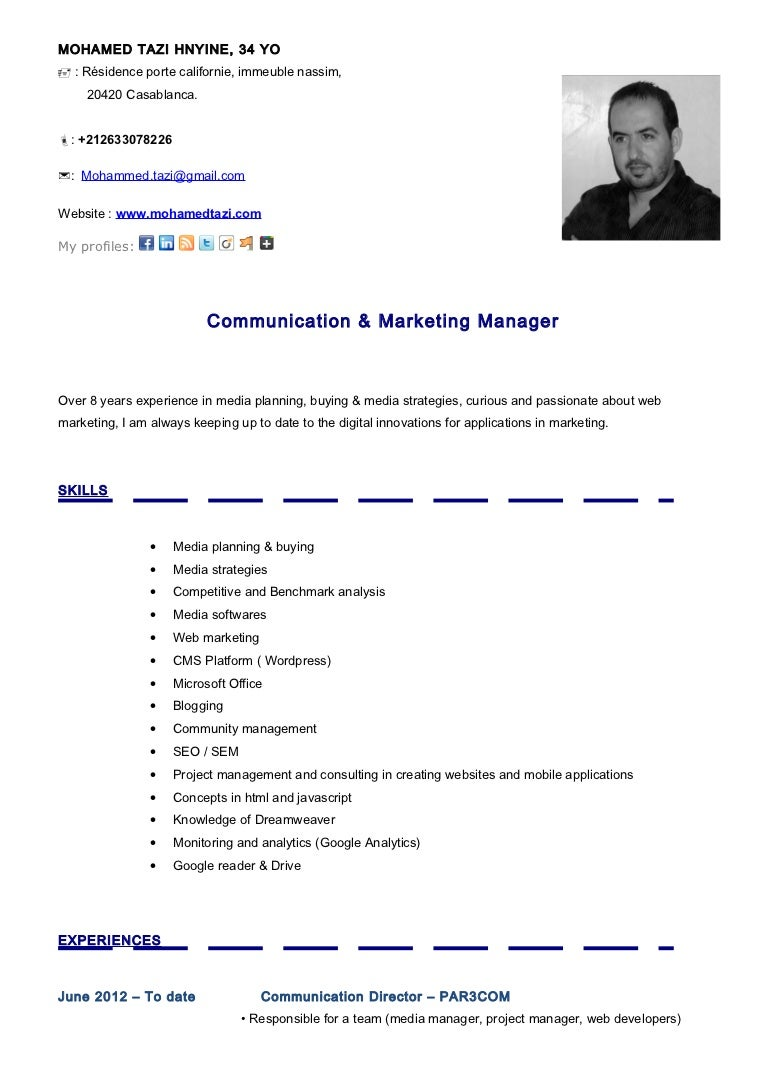 cv mohamed tazi communication marketing manager