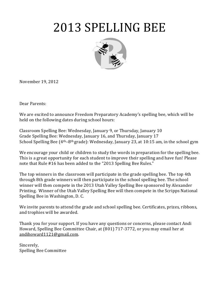 2013 Spelling Bee Parent Letter Rules And Lists (1