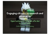 Engaging Citizens in Research and Innovation: Opportunities and Challenges Afforded by Social Media