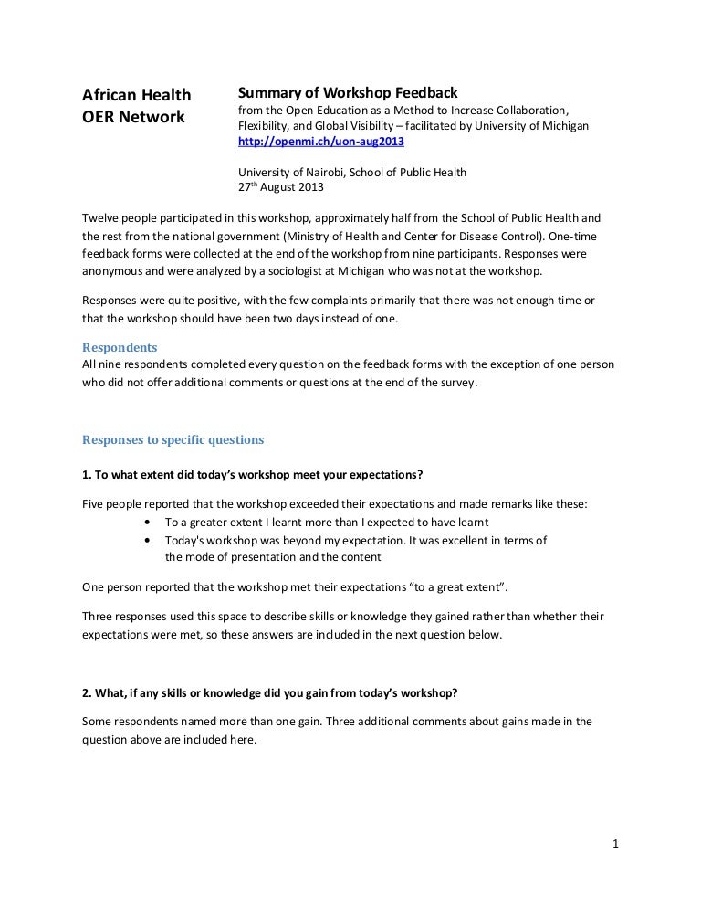 Uon Sph Oer Workshop Feedback Summary